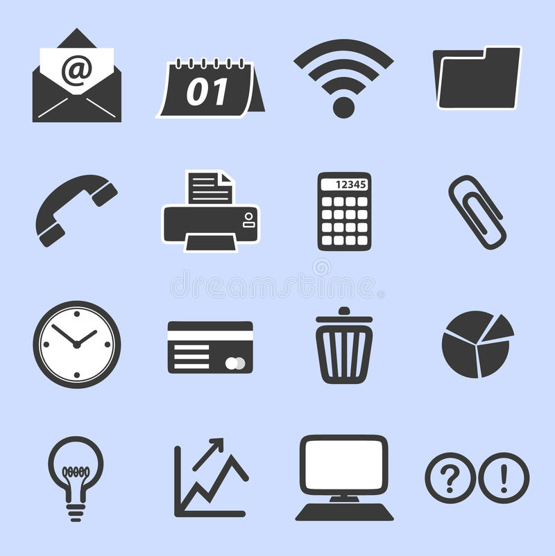 List of business related icons royalty free stock photo