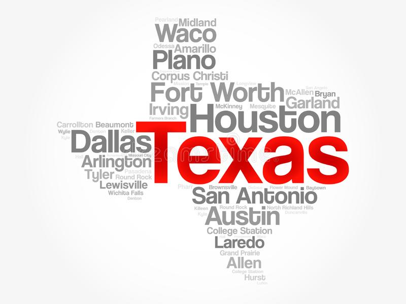 List of cities in Texas USA state word cloud royalty free illustration