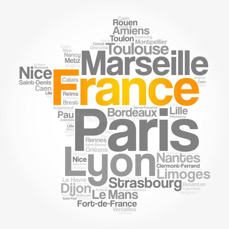 List of cities and towns in FRANCE stock illustration