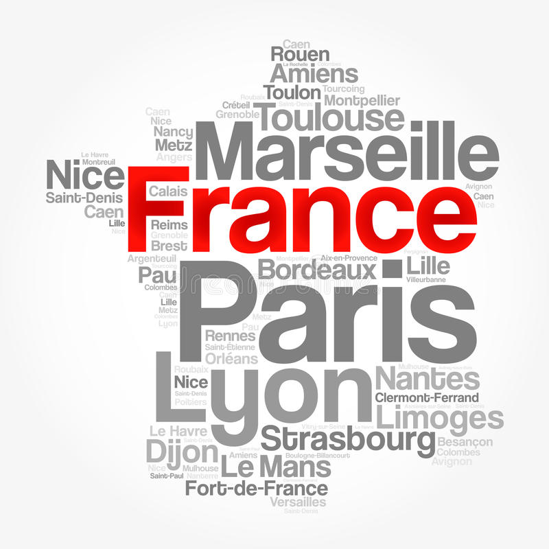List of cities and towns in FRANCE vector illustration