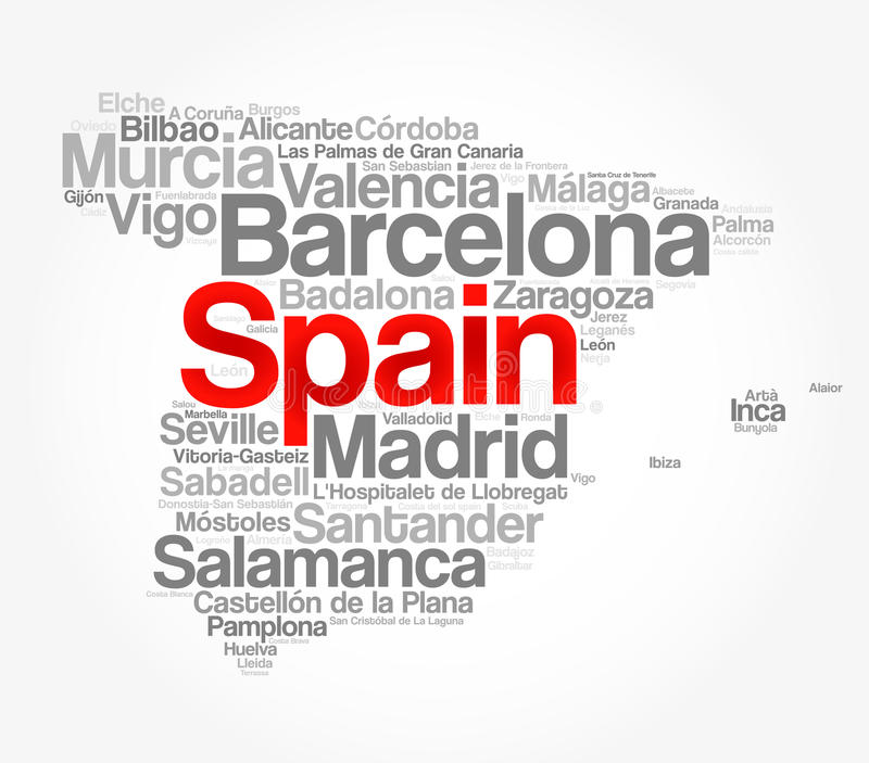 List of cities and towns in SPAIN vector illustration