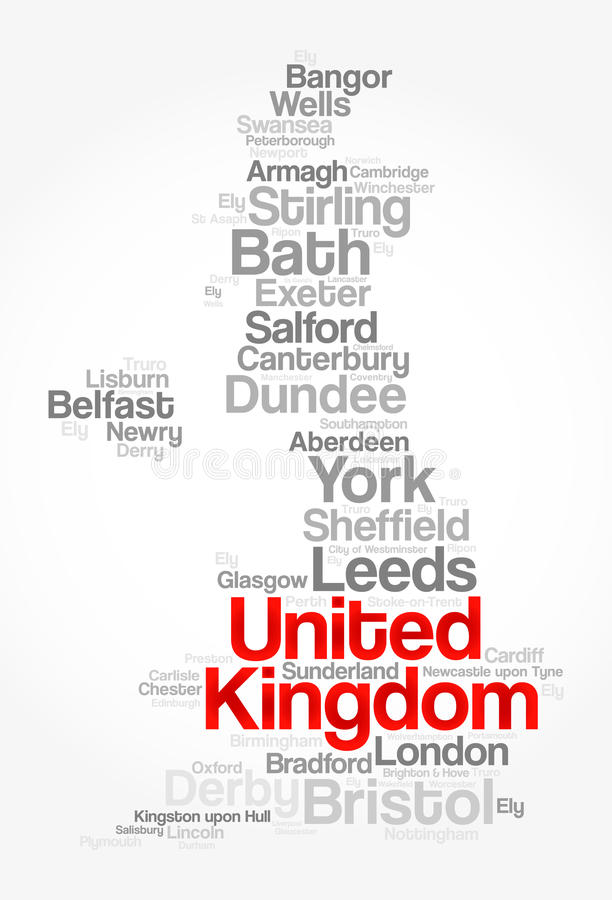 List of cities and towns in UNITED KINGDOM royalty free illustration