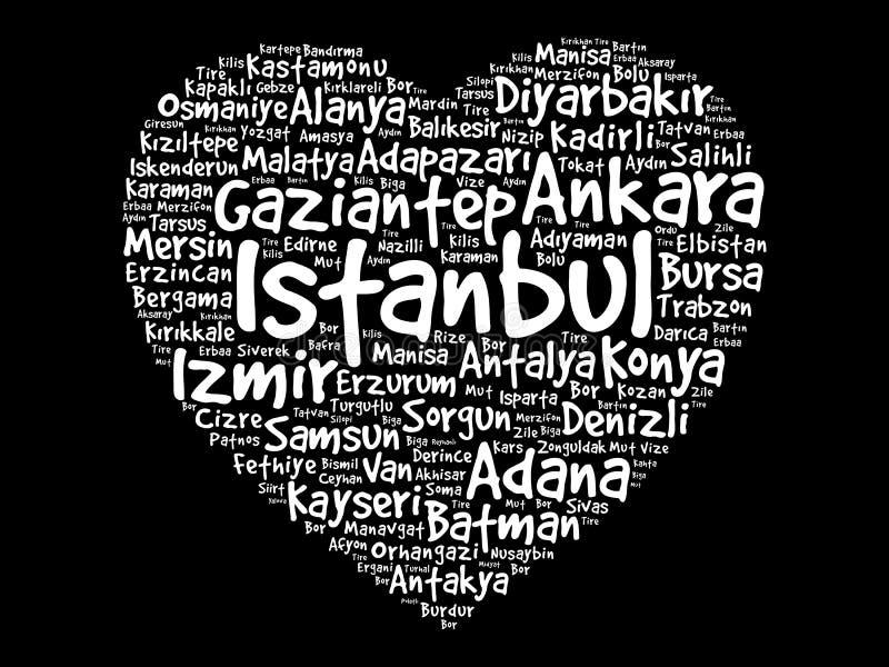 List of cities in Turkey vector illustration
