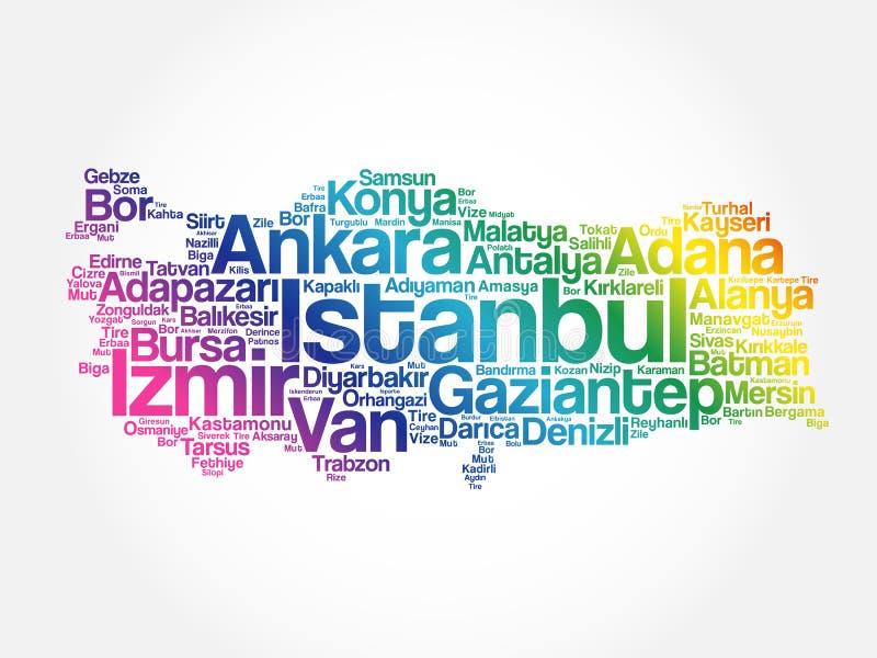 List of cities in Turkey word cloud stock illustration