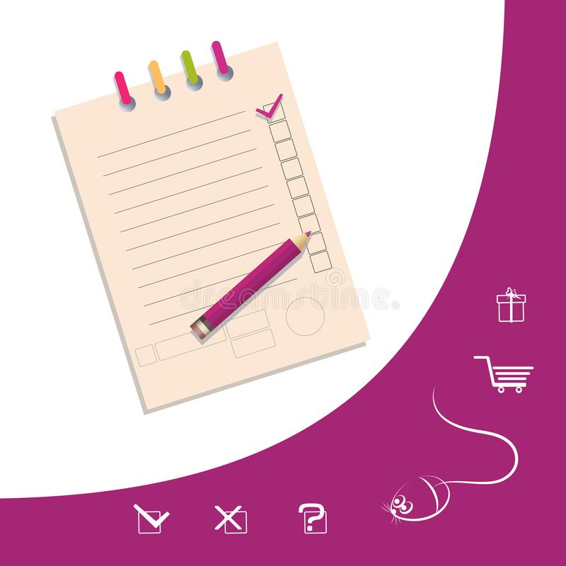 List of gifts. Check list with a pencil and line icons. stock illustration