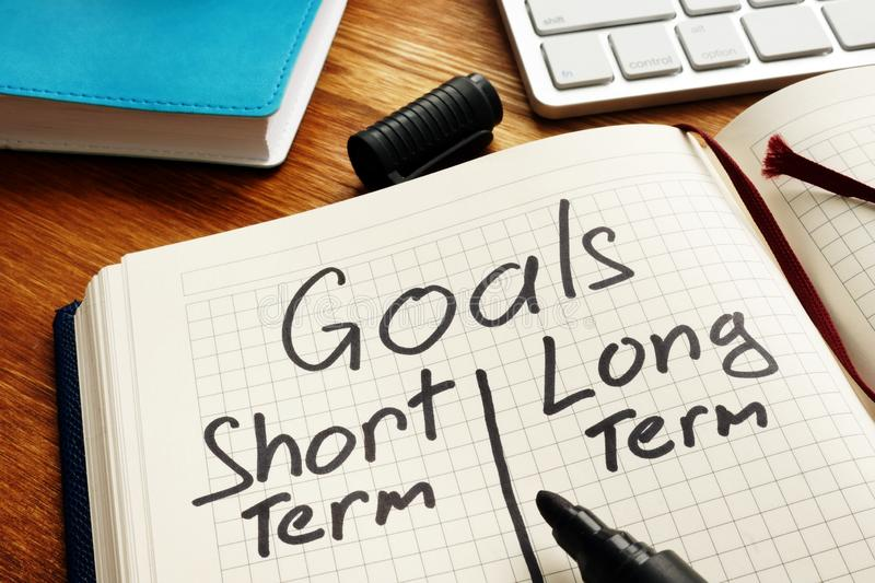 List of Goals with short term and long term. In the book stock photos