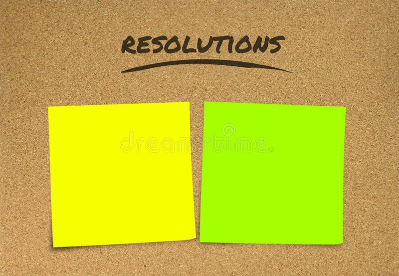 List of handwritten 2019 New Year resolutions and goals in sticky notes blank with copy space for adding text in commitment stock photography
