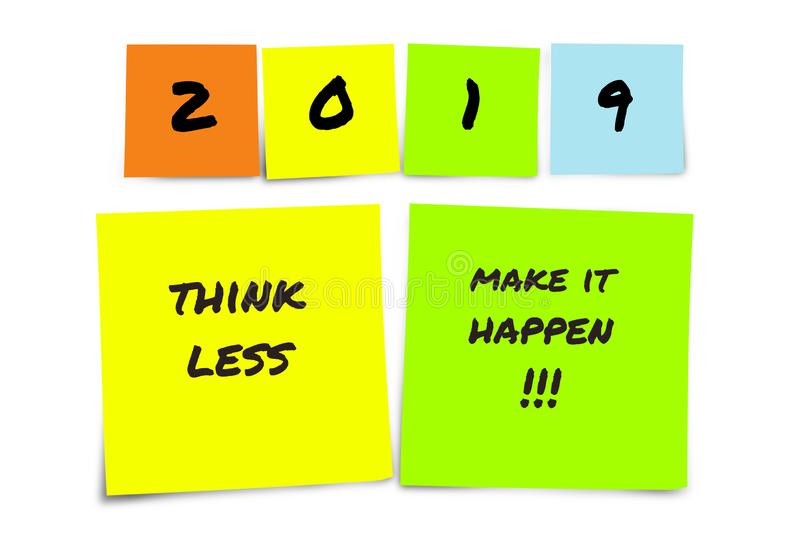 List of handwritten 2019 New Year resolutions and goals in sticky notes in commitment determination and positive thinking concept stock images