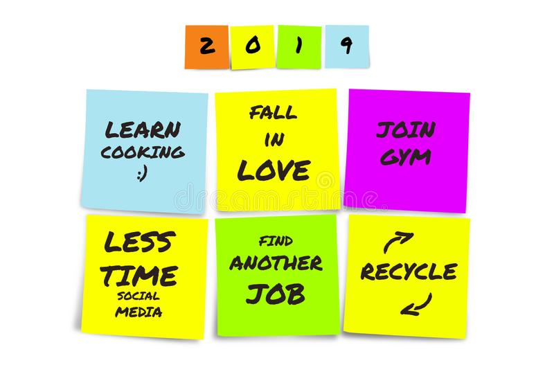 List of handwritten 2019 New Year resolutions and goals in sticky notes in commitment determination and positive thinking concept royalty free stock photo