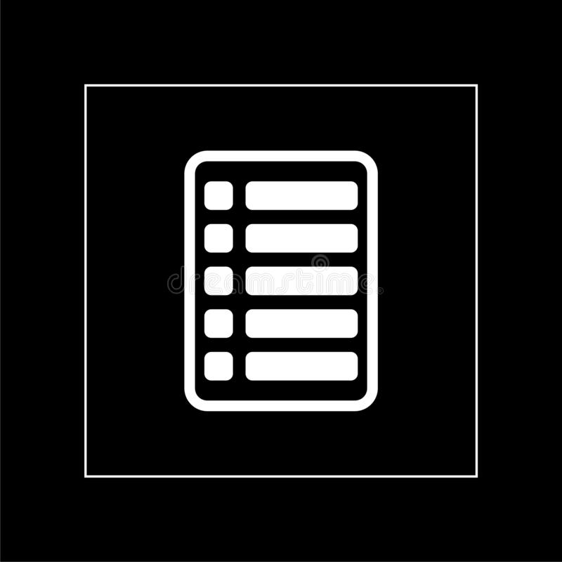 List icon flat illustration for graphic and web design isolated on black background stock images