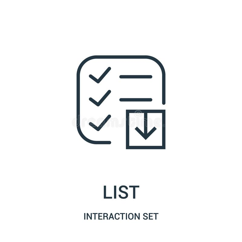 List icon vector from interaction set collection. Thin line list outline icon vector illustration. Linear symbol for use on web and mobile apps, logo, print royalty free illustration
