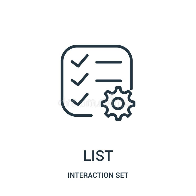 List icon vector from interaction set collection. Thin line list outline icon vector illustration. Linear symbol for use on web and mobile apps, logo, print vector illustration