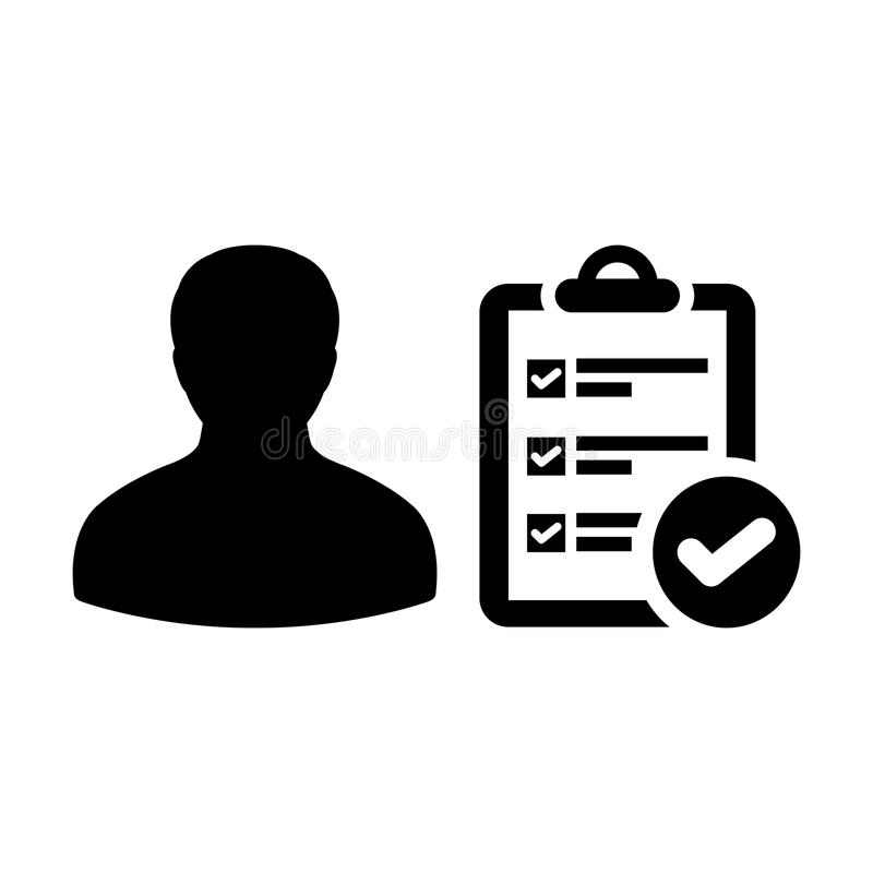 List icon vector male person profile avatar with survey checklist report document and tick symbol. In flat color Glyph Pictogram illustration royalty free illustration