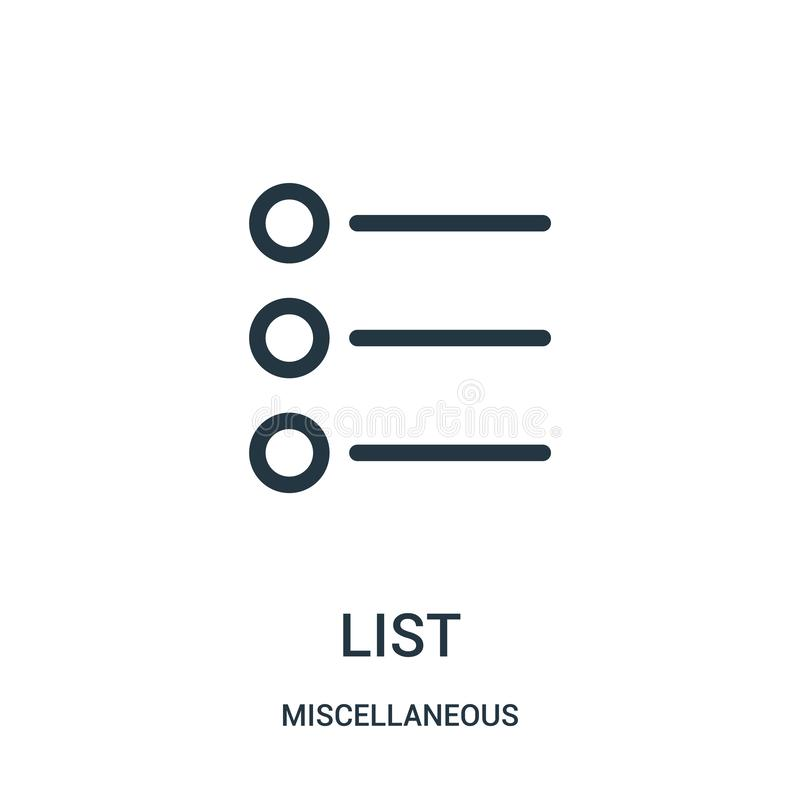 List icon vector from miscellaneous collection. Thin line list outline icon vector illustration. Linear symbol for use on web and. Mobile apps, logo, print vector illustration