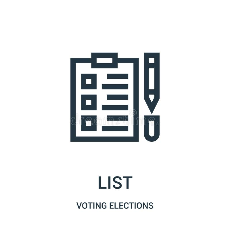 List icon vector from voting elections collection. Thin line list outline icon vector illustration. Linear symbol for use on web and mobile apps, logo, print vector illustration