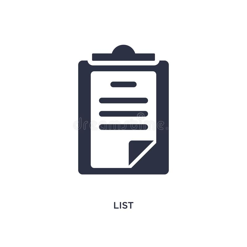 List icon on white background. Simple element illustration from customer service concept. List icon. Simple element illustration from customer service concept royalty free illustration