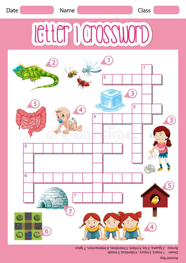 List Ja crossword worksheet royalty ilustracja