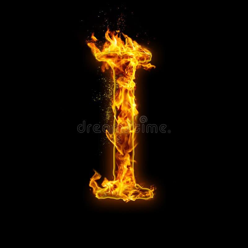 List Ja Ogień płonie na czarnym odosobnionym tle ilustracja wektor