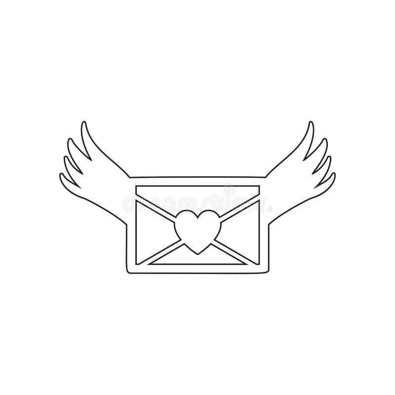 List mi?osny z skrzyd?o ikon? Element valentine, s dzie? ?, po?lubiaj?cy dla mobilnego poj?cia i sieci apps ikony Kontur, cieniej ilustracja wektor