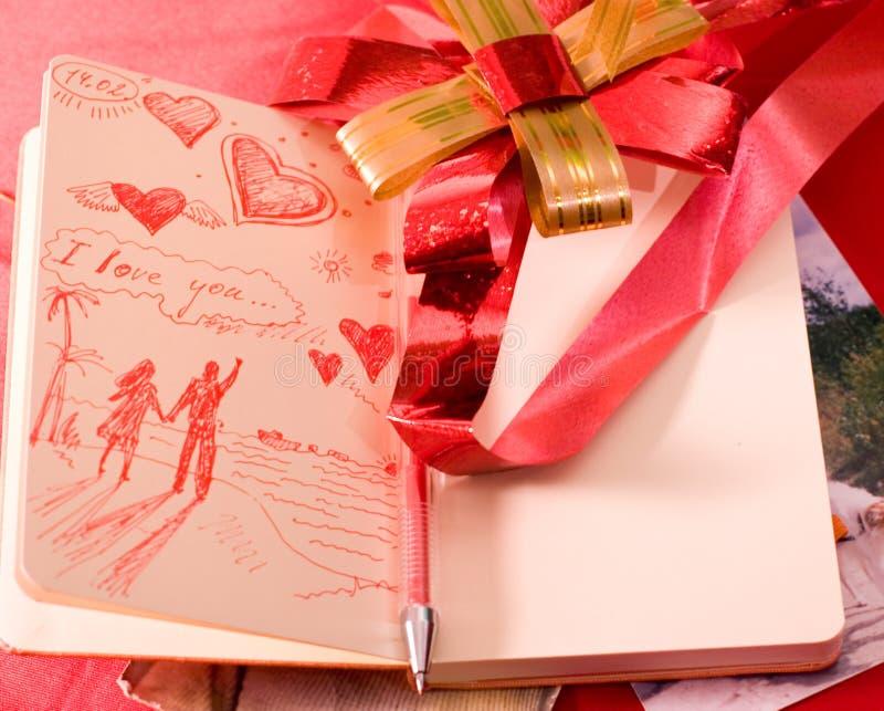 list moleskine walentynki miłości obraz stock