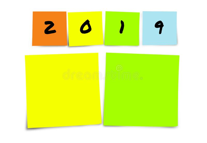 List of 2019 New Year resolutions and goals in sticky notes blank with copy space for adding text in commitment determination and stock image