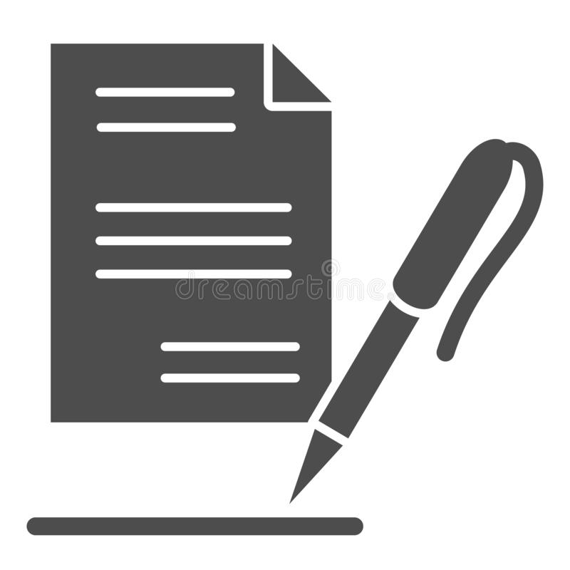 List and pen solid icon. Record vector illustration isolated on white. Paper glyph style design, designed for web and. App. Eps 10 vector illustration