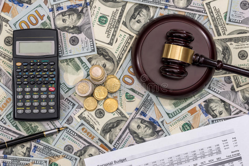 List personal budget 2017, money and calculator,. Pen royalty free stock photo