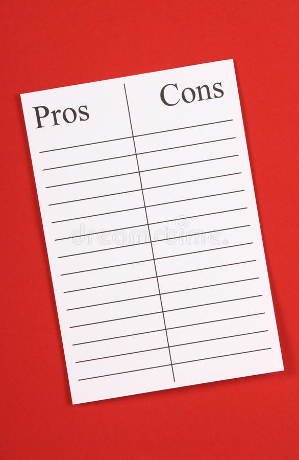 A List of Pros and Cons royalty free stock photos