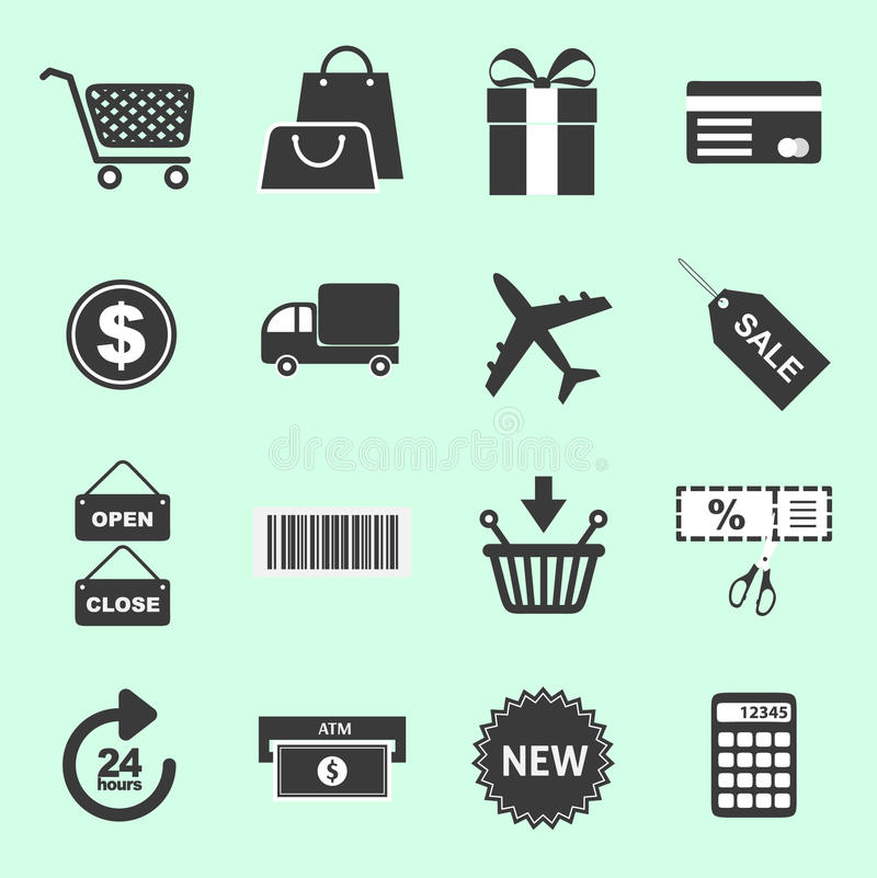 List of shopping related icons royalty free stock images