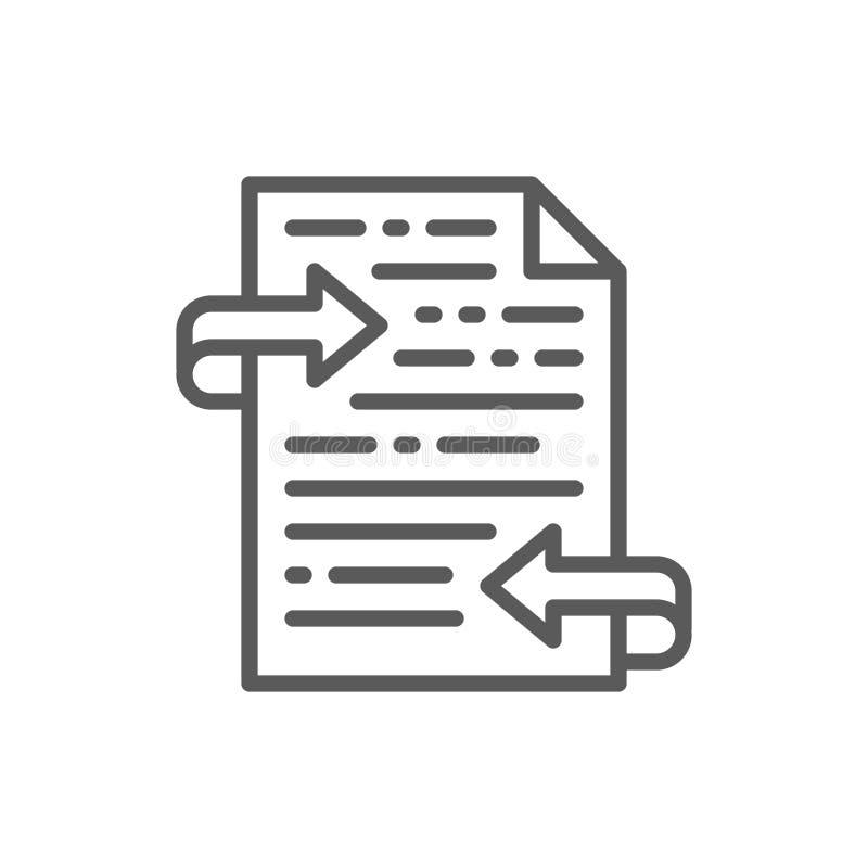 List, teksta przekład, informacje zwrotne kreskowa ikona ilustracja wektor