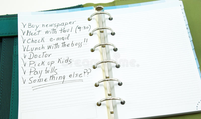 A list of things to do on notepad. With space on the right royalty free stock image