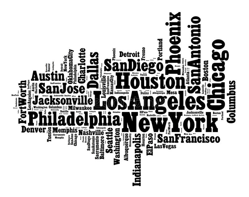 List of United States cities vector illustration