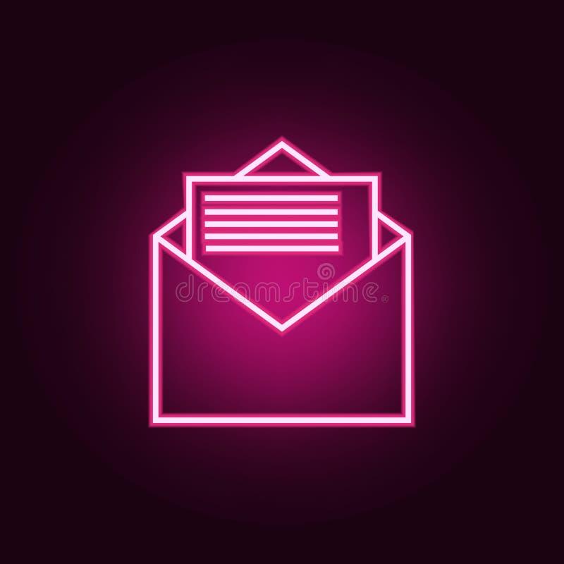 List w kopertowej ikonie Elementy sie? w neonowych stylowych ikonach Prosta ikona dla stron internetowych, sie? projekt, mobilny  ilustracji