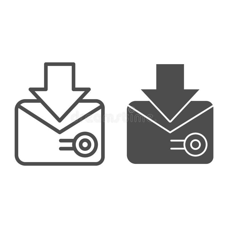 List z znaczek pocztowy linią glif ikoną i Koperta z stemplową wektorową ilustracją odizolowywającą na bielu wy?lij poczt? ilustracji