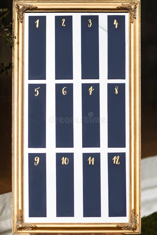 Lista à moda elegante bonita da tabela do convidado do casamento imagem de stock
