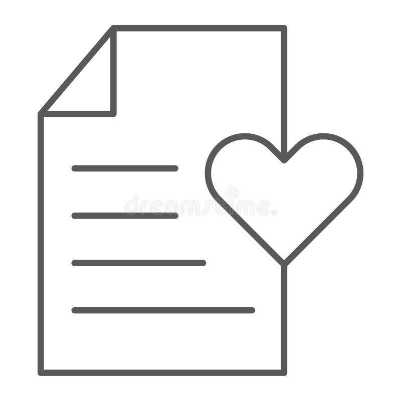 Lista życzeń cienka kreskowa ikona, papier i dokument, lista kontrolna znak, wektorowe grafika, liniowy wzór na białym tle ilustracja wektor
