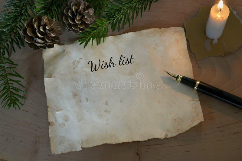 Lista życzeń z świeczką fotografia royalty free