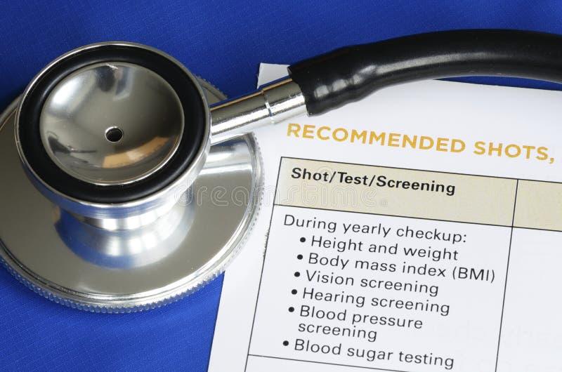 Lista av medicinska shots och testar arkivfoton