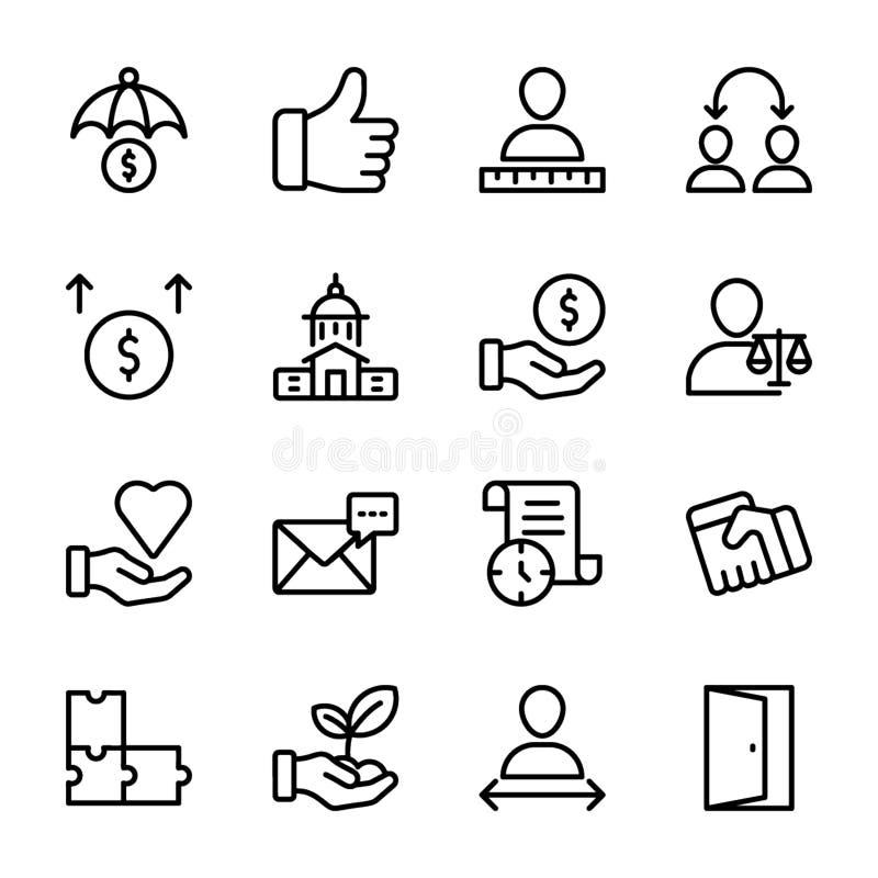 Lista av personlig kvalitet, anställdledninglinje symboler stock illustrationer