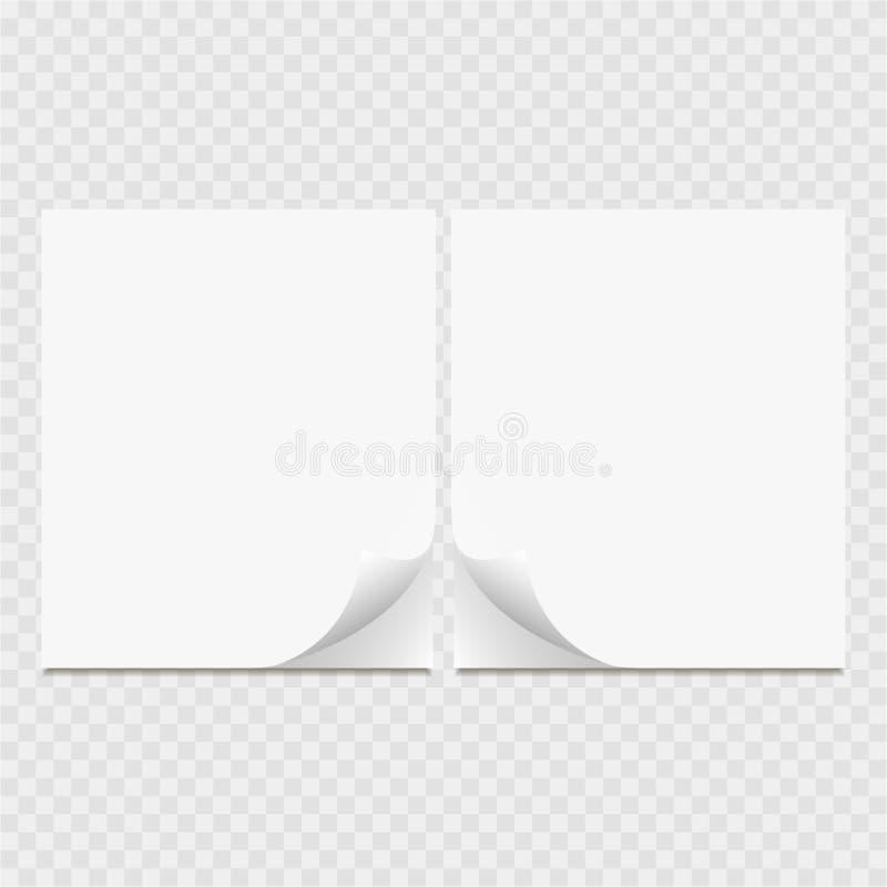Lista clara de papel Página del rizo con la sombra stock de ilustración