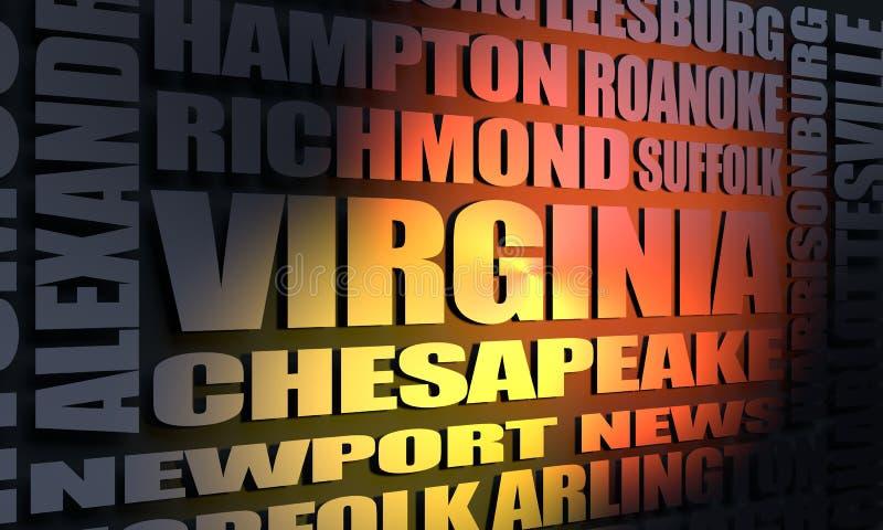 Lista das cidades de Virgínia foto de stock