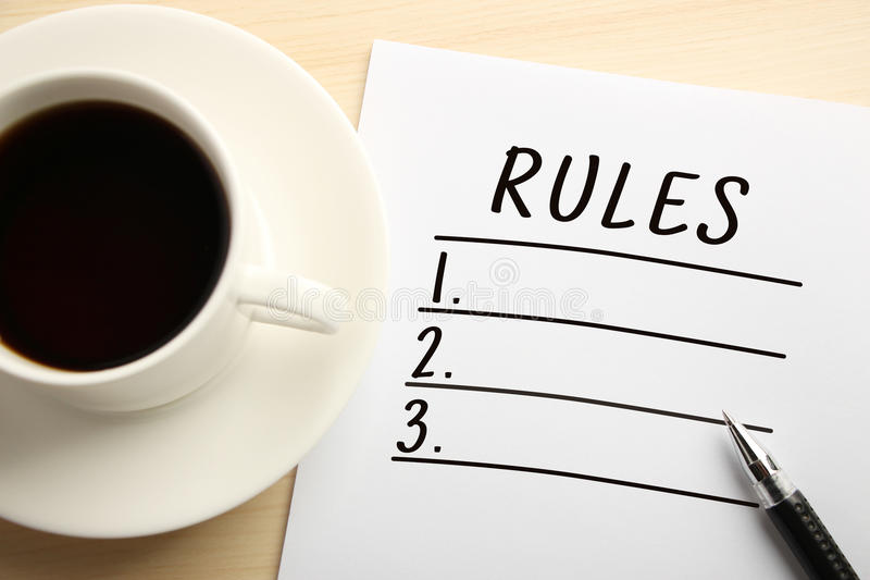 Lista das regras foto de stock