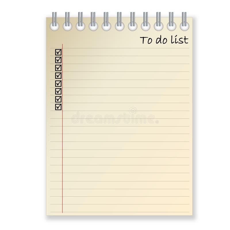 Lista de afazeres ilustração stock