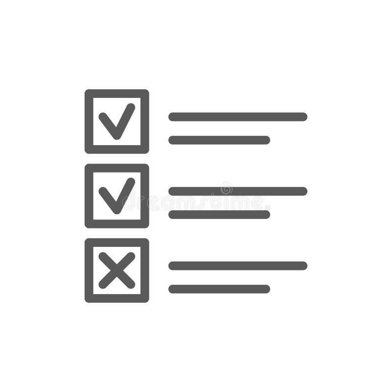 A lista de casos feitos e desabotoados alinha o ícone ilustração do vetor