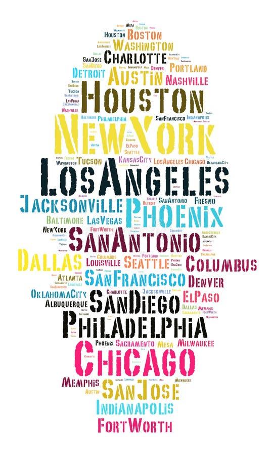 Lista de cidades do Estados Unidos ilustração do vetor