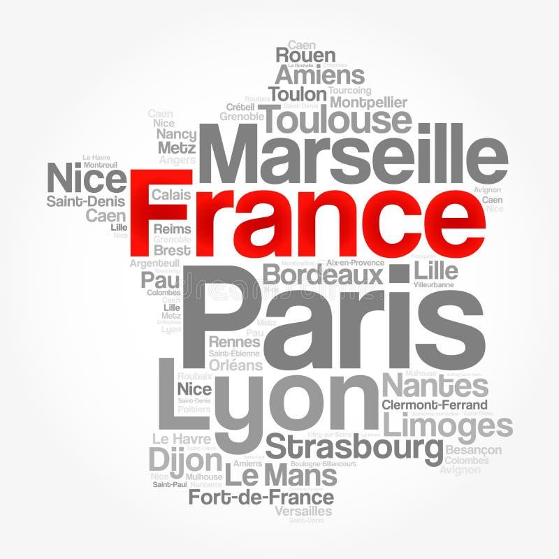 Lista de cidades e de cidades em FRANÇA ilustração do vetor