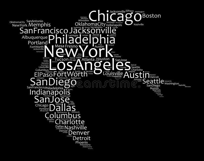 Lista de ciudades de Estados Unidos ilustración del vector