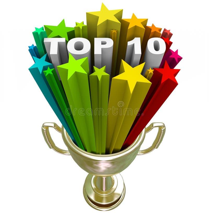 Lista de classificação do Top Ten que mostra as melhores escolhas e qualidade ilustração stock