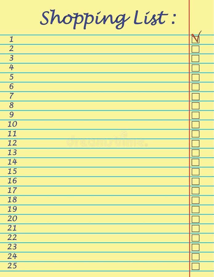Lista de compra ilustração do vetor