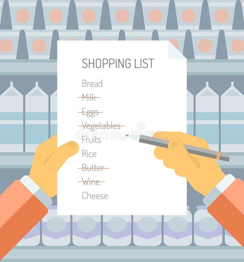 Lista de compra na ilustração lisa do supermercado ilustração stock